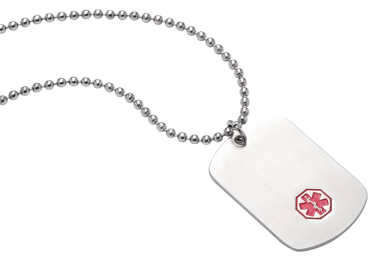 "TextID Dog Tag Stainless Steel Classic - 25"" - Medical ID"