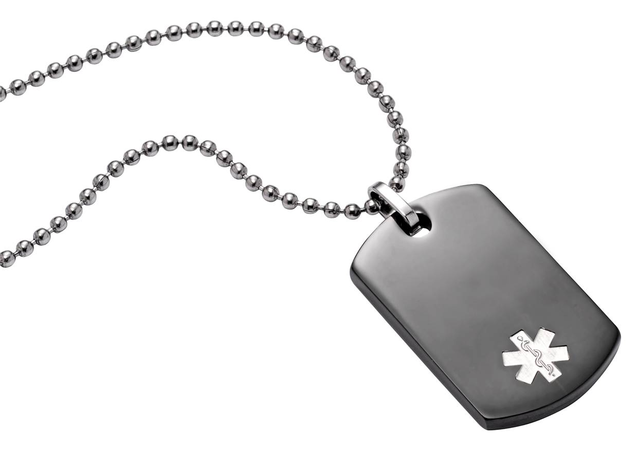"TextID - Dog Tag Stainless Steel Black Plate - 25"" - Medical ID"
