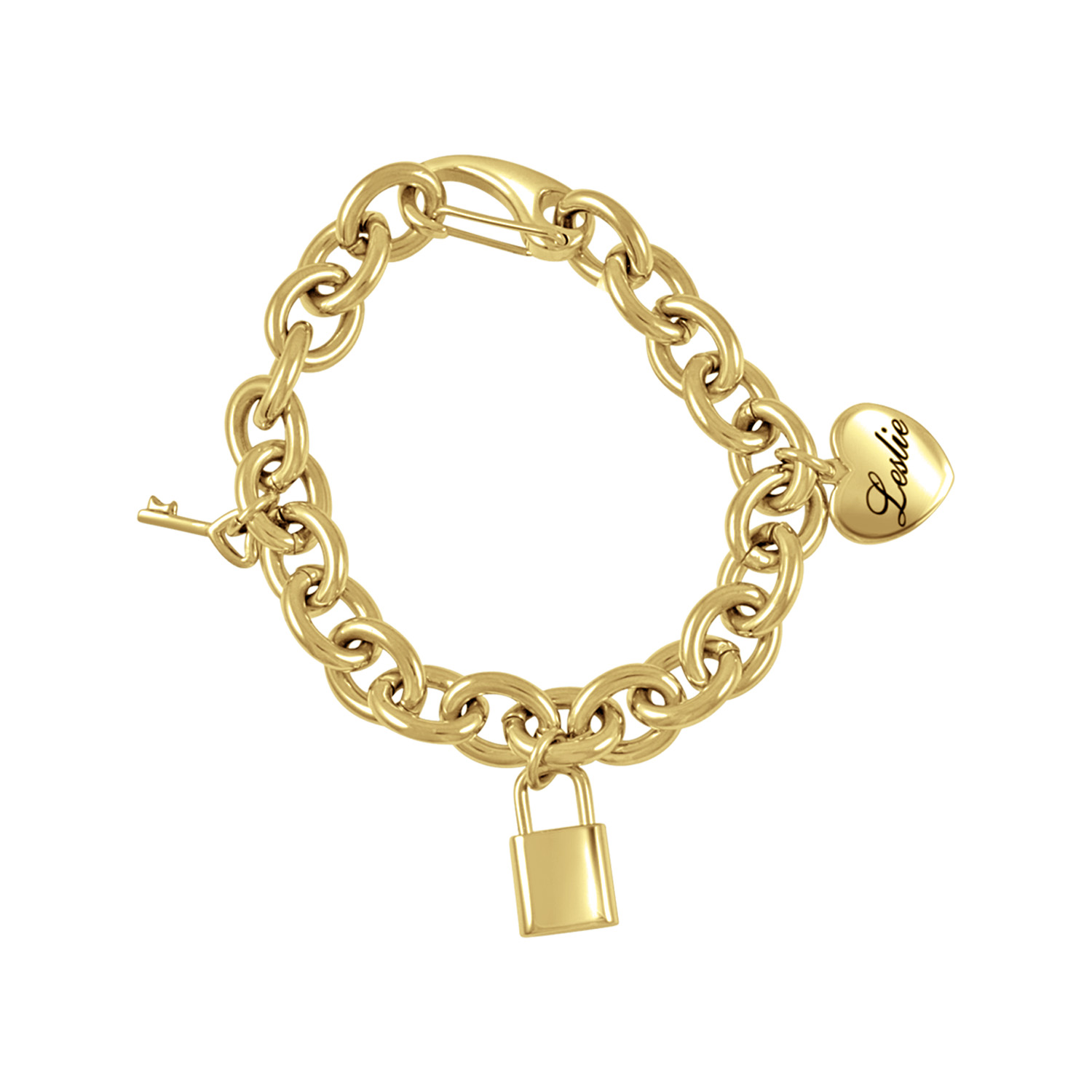 Heart, Lock, and Key Bracelet in Goldtone Stainless Steel