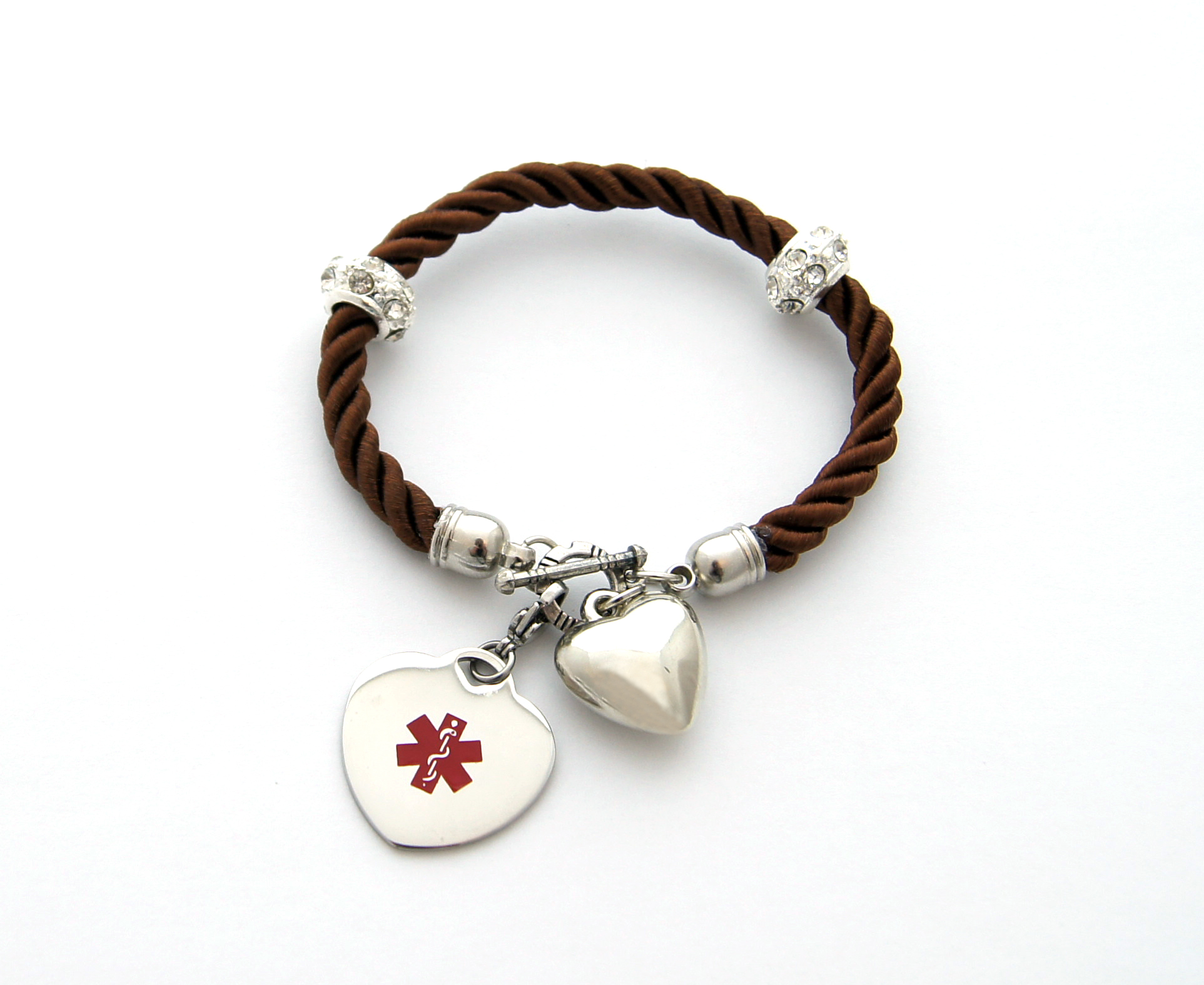 Brown Twist Rope Bracelet with Puff Heart Charm - Medical ID