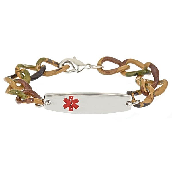 Aluminum Design Bracelet - Camouflage - Medical ID