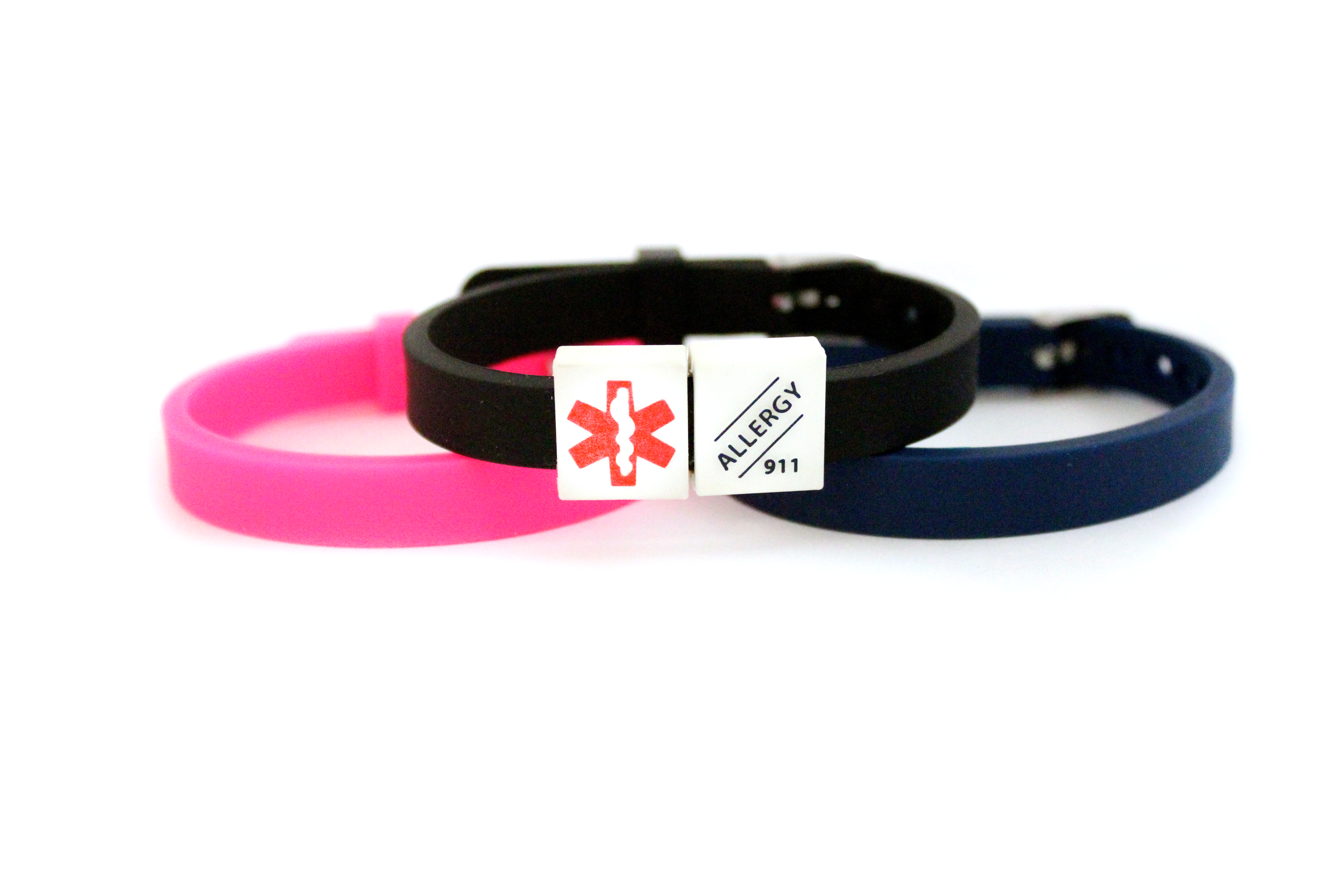 MediCube ID Rubber Watch Band Bracelet - 'Allergy. Call 911'