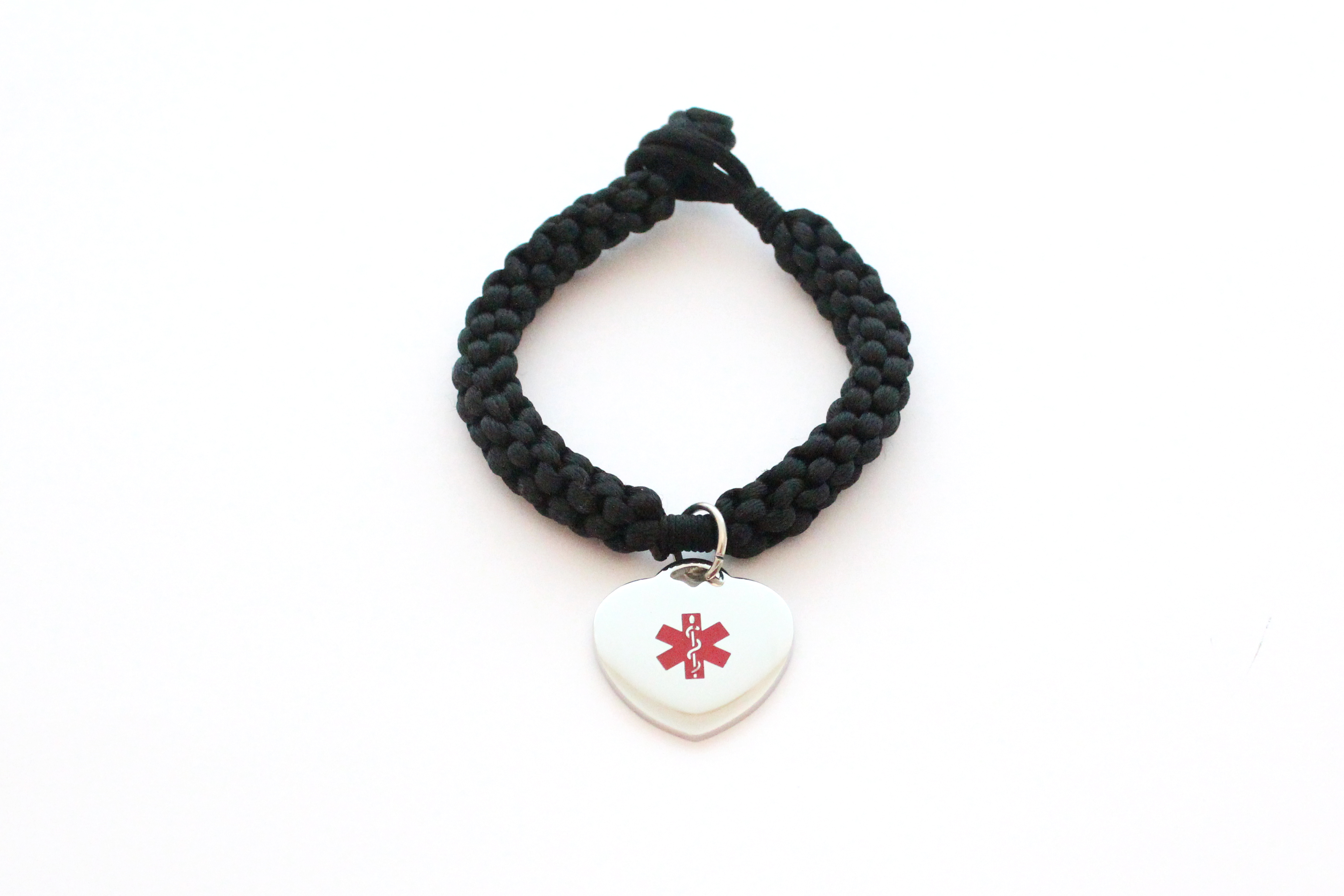 Black Braided Bracelet with Heart Charm - Medical ID
