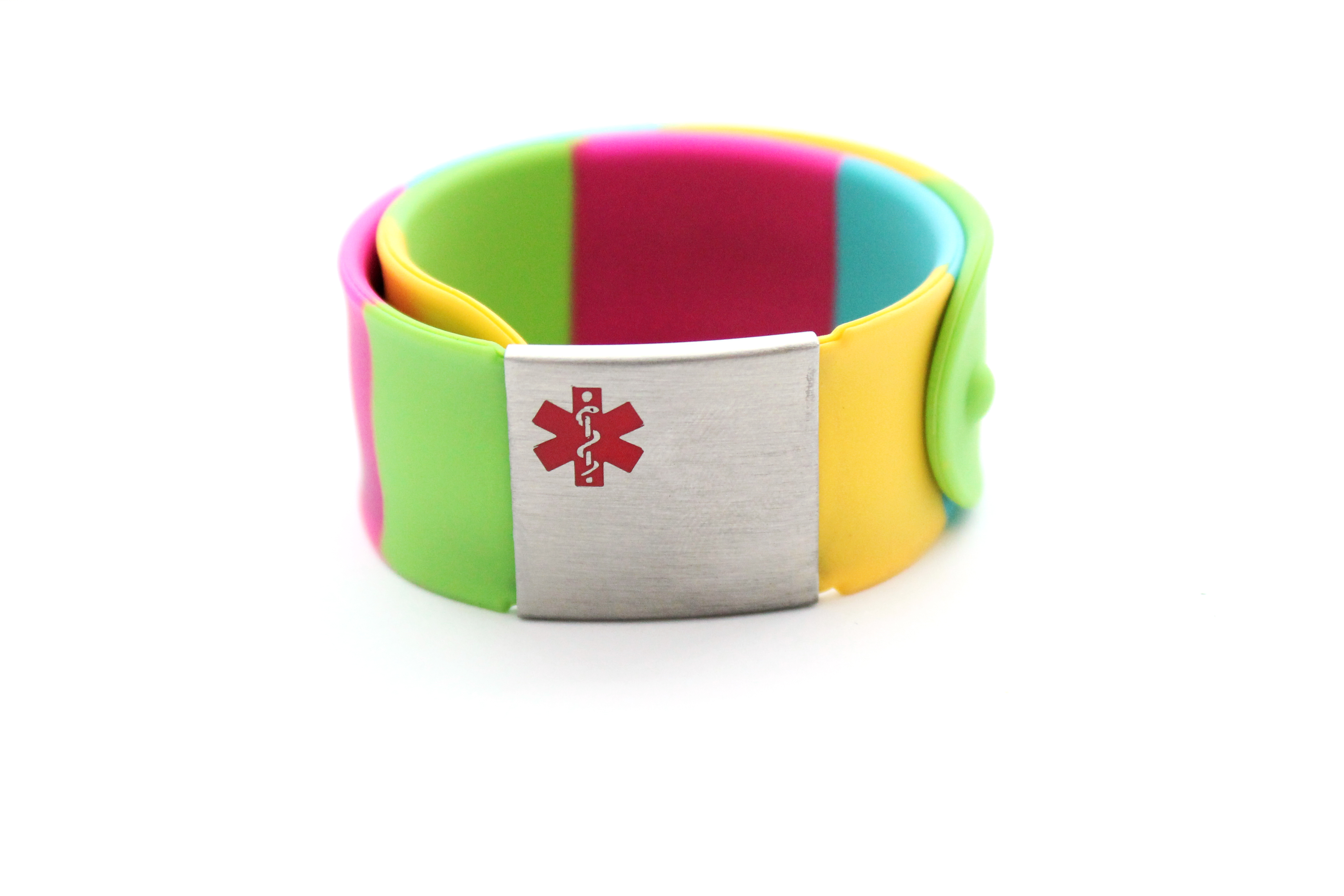 Children's Rainbow Slap Bracelet - Medical ID