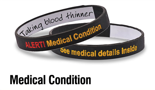 "Mediband - ""Medical Condition"" Write Your Own Information Inside - Black/Silver"