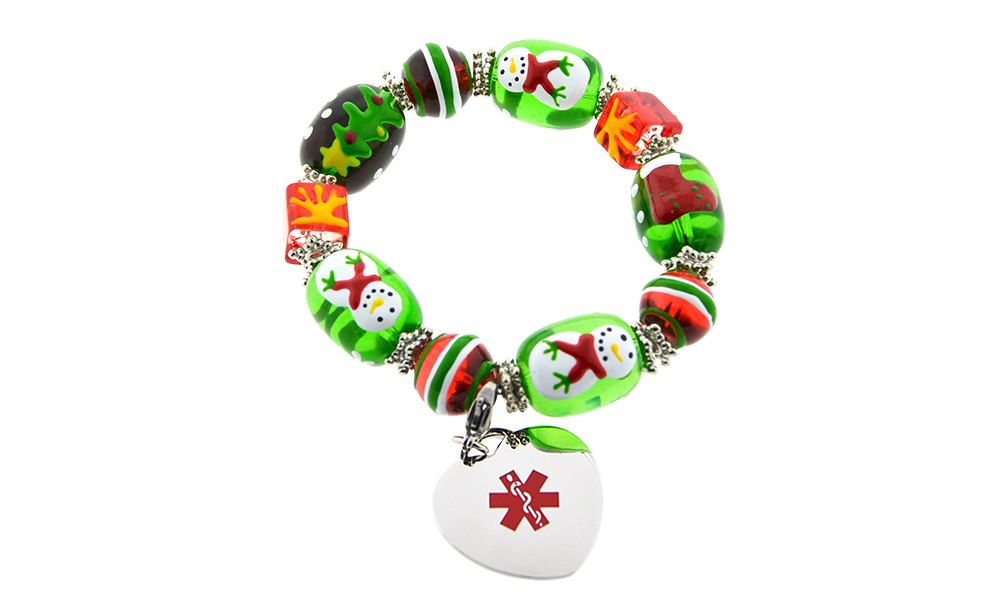 Holiday Cheer - Beaded Bracelet - Medical ID