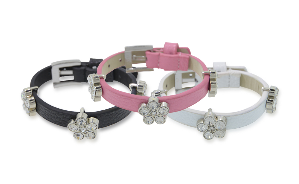 Leather Bracelet with Crystal Flowers (Non Medical)