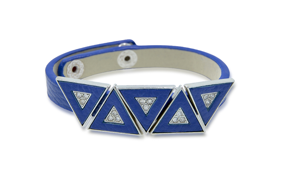 Leather Bracelet with Crystal Triangles (Non-Medical)