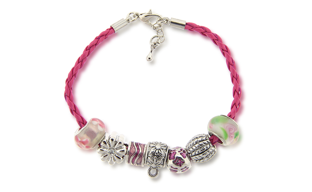 Beaded Style Pink Leather Bracelet (Non-Medical)