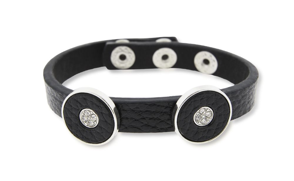 Black Leather Bracelet with Crystal Circles (Non Medical)