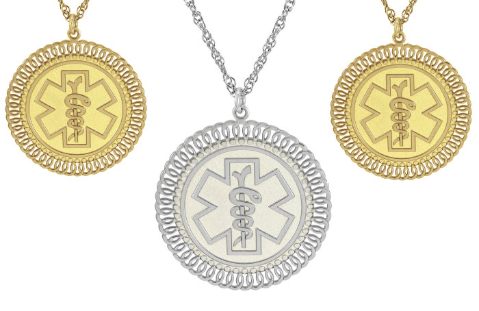 Spiral Border Medical ID Necklace