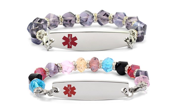 Crystal Beaded Bracelet  - Medical ID