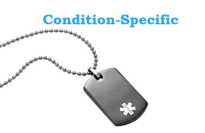 Condition Specific Black Plate Dog Tag