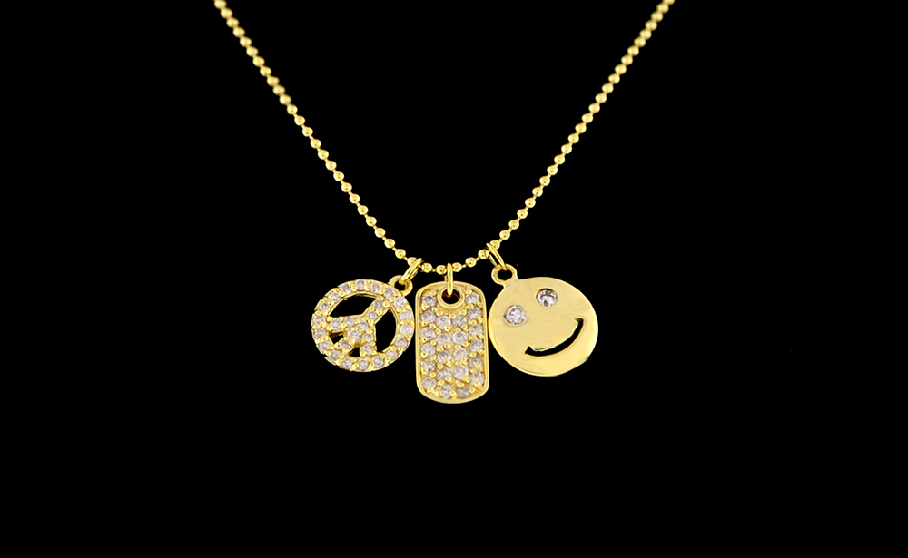 14K Gold Diamond .35CT Smile Necklace