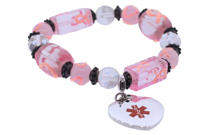 Beaded Breast Cancer Awareness Bracelet