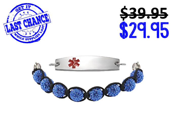 Blue Pave Crystal w/ Sparkle Beads - 7 - Medical ID
