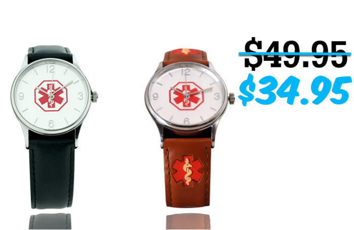 The Classic Leather Medical ID Watch - 38mm
