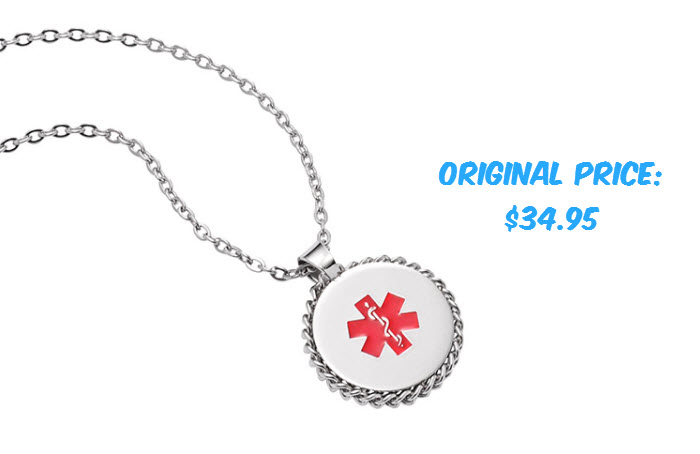 "Stainless Steel Disc Charm Necklace - 22"" - Medical ID"
