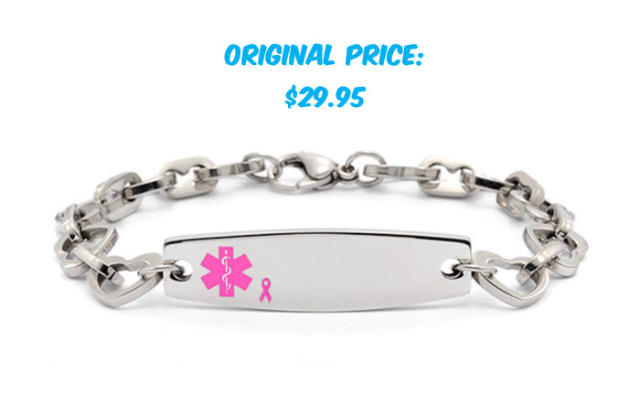 Stainless Steel Heart Link w/ Breast Cancer Awareness Ribbon - Medical ID