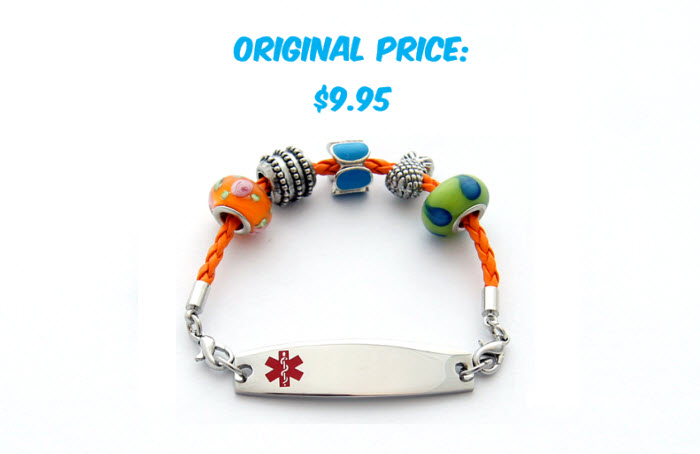 Beaded Leather Bracelet - Medical ID