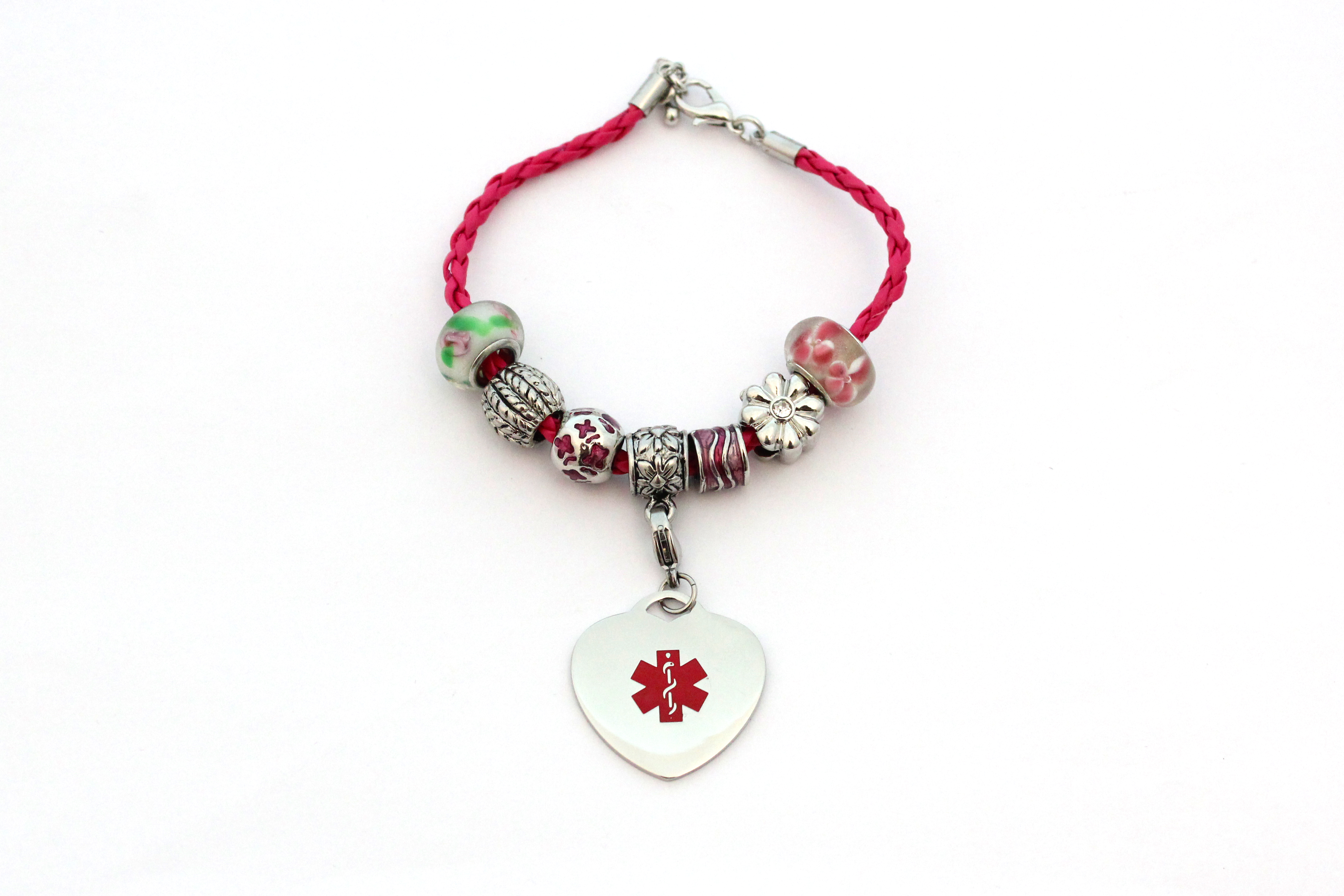 Beaded Style Pink Leather Bracelet - Medical ID