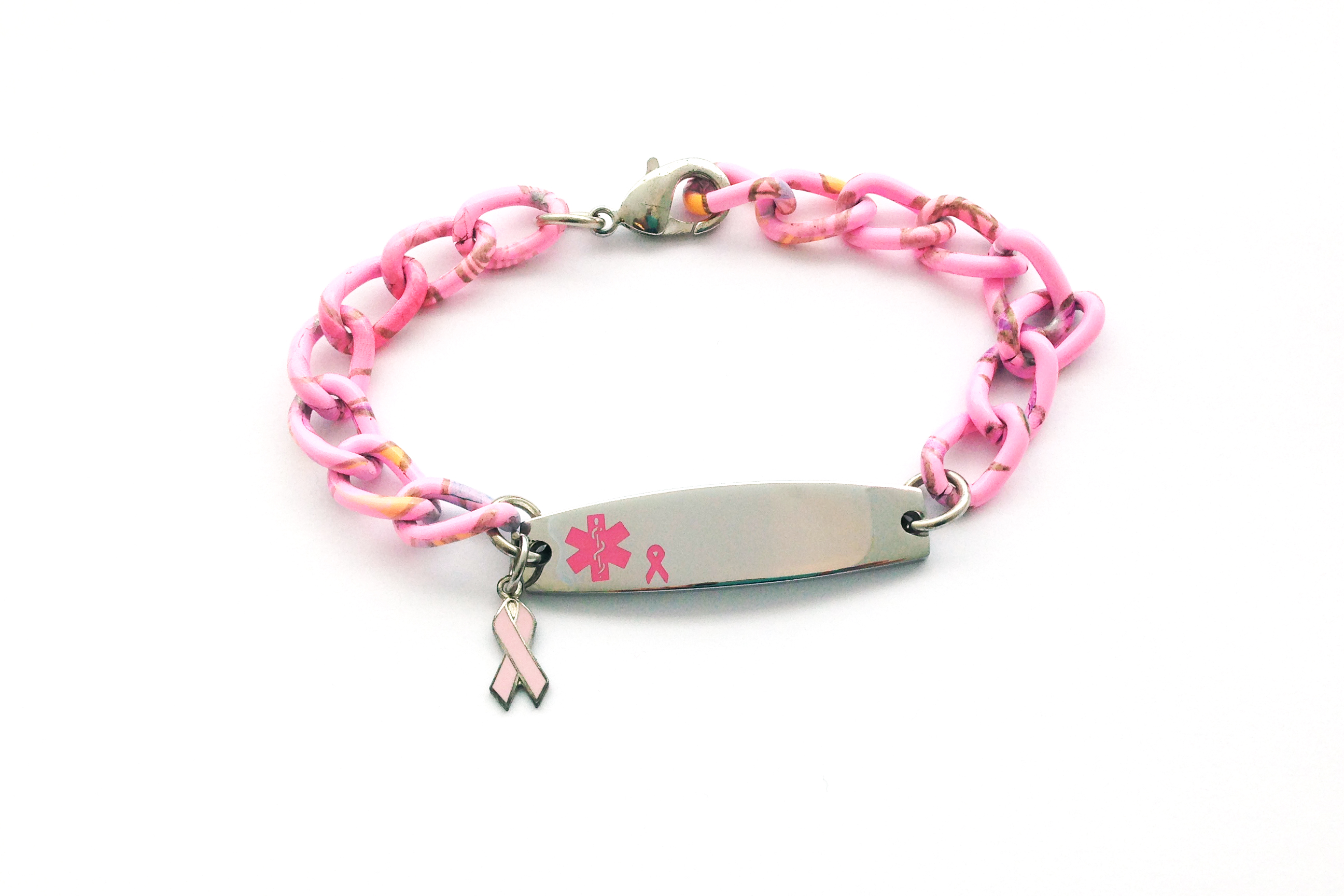 Pink Aluminum Medical ID with Breast Cancer Awareness Charm