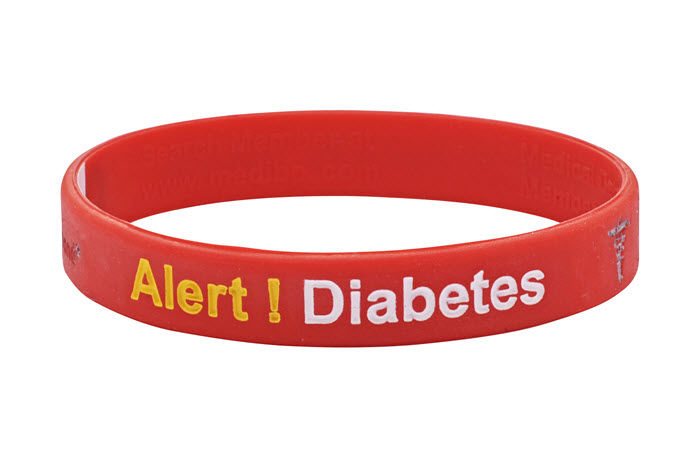 "Mediband - ""Diabetes"" Write Your Own Information Inside - Red"