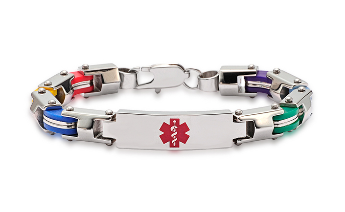 Stainless Steel Six Color Fashion Bracelet - 7 - Medical ID