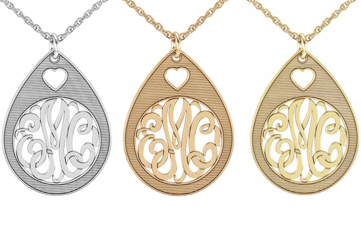 Monogram Pendant with Heart Cutout