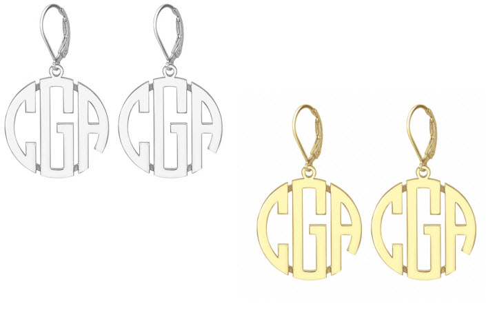 Monograms Block Style Earrings