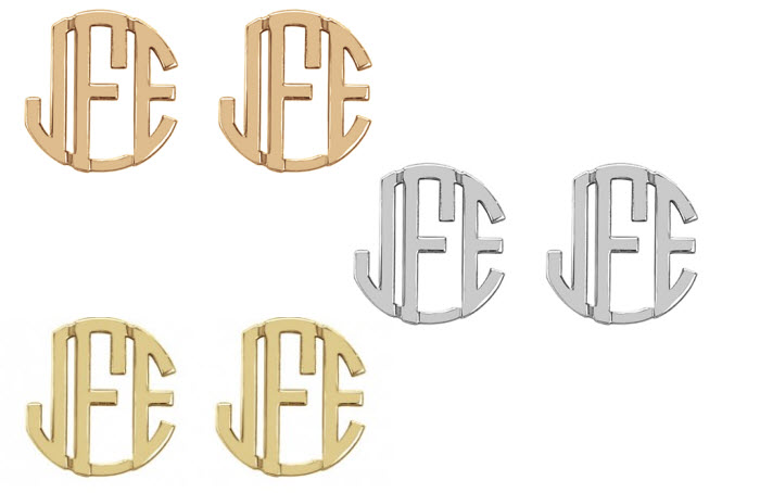 Monogram Stud Block Earrings