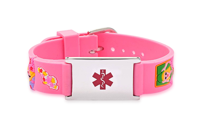 Child's Rubber Watch Band Pink Girls and Hearts - Medical ID