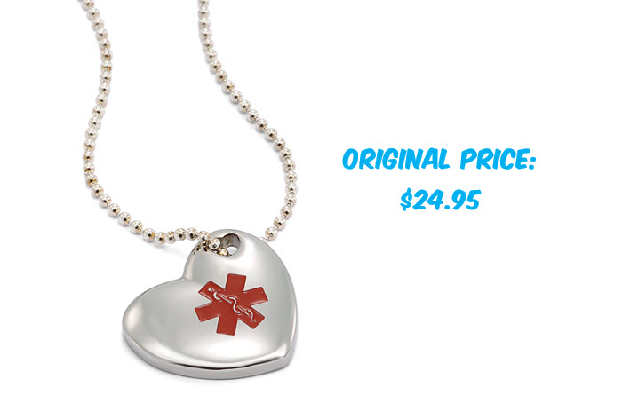 Stainless Steel Puff Heart Charm Necklace