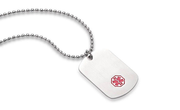 """Dog Tag Stainless Steel Classic"" - 25"" - Medical ID"