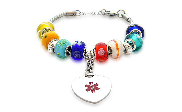 Multi-color Beaded Style Bracelet (Adjustable) - Medical ID