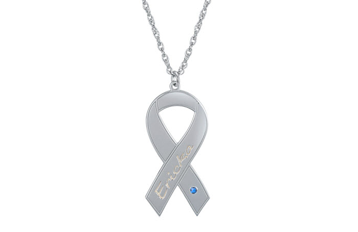 Ribbon-Awareness  with Birthstone 10K White Gold